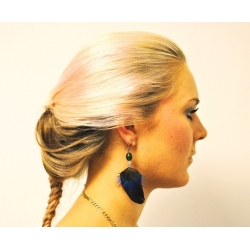 Blue peacock earring