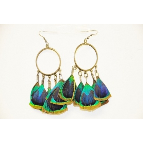 Long peacock feather drop earrings
